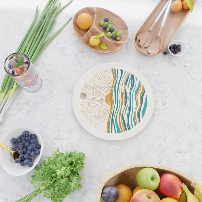 The Sun and The Sea - Gold and Teal Cutting Board