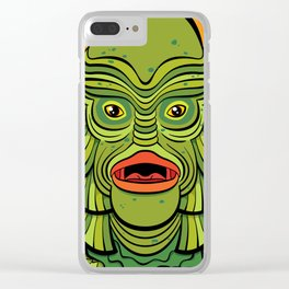 Creature from the Black Lagoon on orange Clear iPhone Case