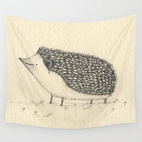 hedgehog Wall Tapestries featuring Monochrome Hedgehog by Sophie Corrigan
