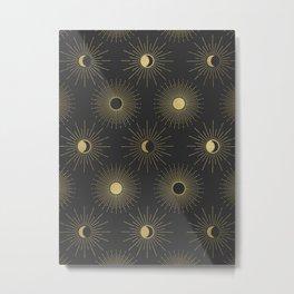 Moon and Sun Theme Metal Print