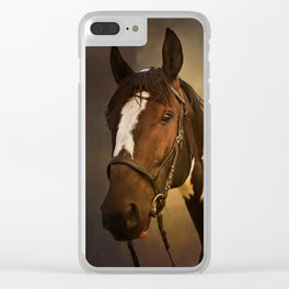 Paint Horse Portrait Clear iPhone Case