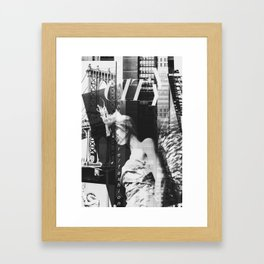NYC Editorial Collage Black & White Framed Art Print