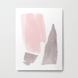 Pink and Grey Minimalist Abstract Brushstroke Painting Metal Print
