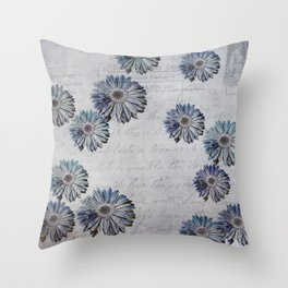 blue daisies par avion Throw Pillow