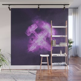 Hammer and pick, sign for mining. Abstract night sky background Wall Mural