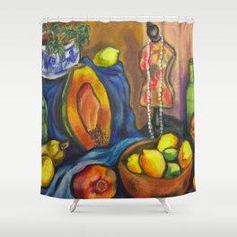 Papaya Still Life Shower Curtain