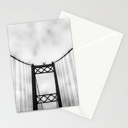 Vintage Monochromatic Black and White Bridge with Clouds Fine Art Print Stationery Cards