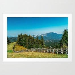 Carpathian Mountains Landscape, Travel Summer Landscape, Transylvania Mountains, Forests Of Romania Art Print