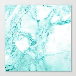 Teal Mermaid Glitter Marble Canvas Print