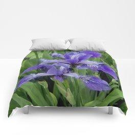 Wild Purple Iris Comforters