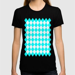 Diamonds (Aqua Cyan/White) T-shirt