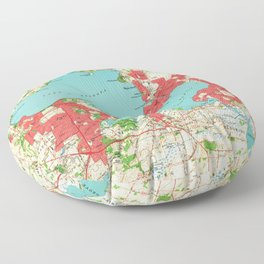 Vintage Map of Madison Wisconsin (1959) Floor Pillow