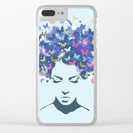 Woman Butterfly Clear iPhone Case