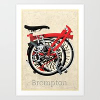 brompton Art Prints featuring Brompton Bike by Wyatt Design