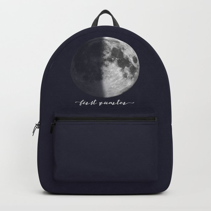 First Quarter Moon on Navy English Backpack