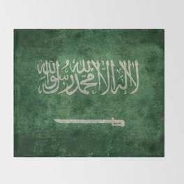Flag of  Kingdom of Saudi Arabia - Vintage version Throw Blanket