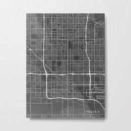 Phoenix Map, Arizona USA - Charcoal Portrait Metal Print