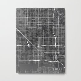 Phoenix Map, Arizona USA - Charcoal Portrait Metal Print
