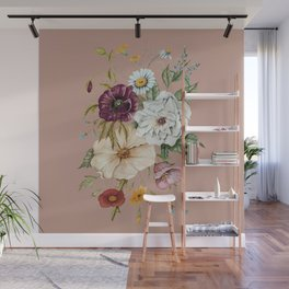 Colorful Wildflower Bouquet on Pink Wall Mural