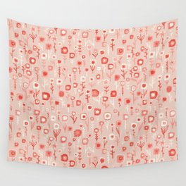 Pink Ditsy Flower Garden Wall Tapestry