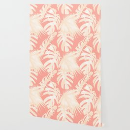 Tropical Coral Pink Palm Leaf Pattern Wallpaper