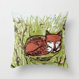 Fox in a Field Throw Pillow