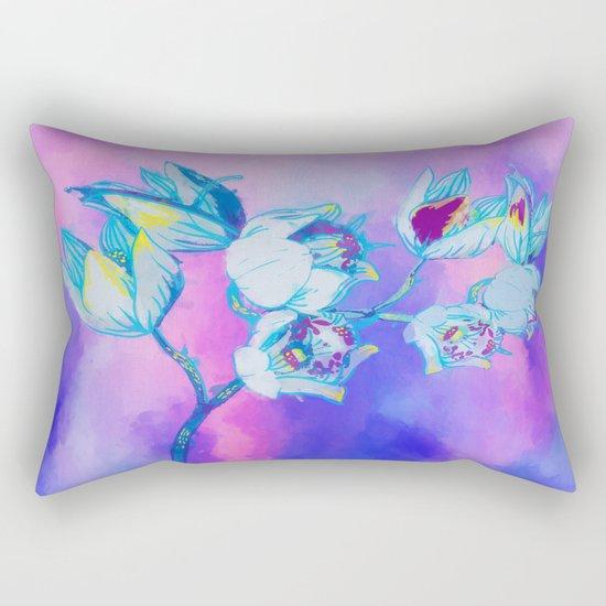 Blue flower abstract Rectangular Pillow