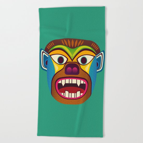 Gorilla ethnic mask Beach Towel