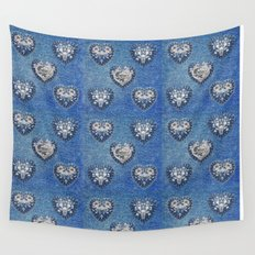 Flowers On Hearts Wall Tapestry