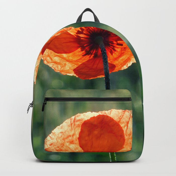 Poppy in a green meadow-Poppies and Flowers on #Society6 Backpack