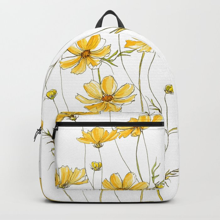 Yellow Cosmos Flowers Rucksack