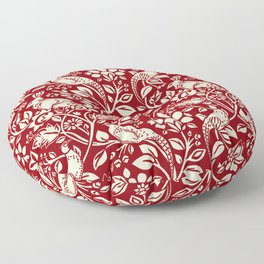 Pheasant and Hare Pattern, Deep Red and Cream  Floor Pillow