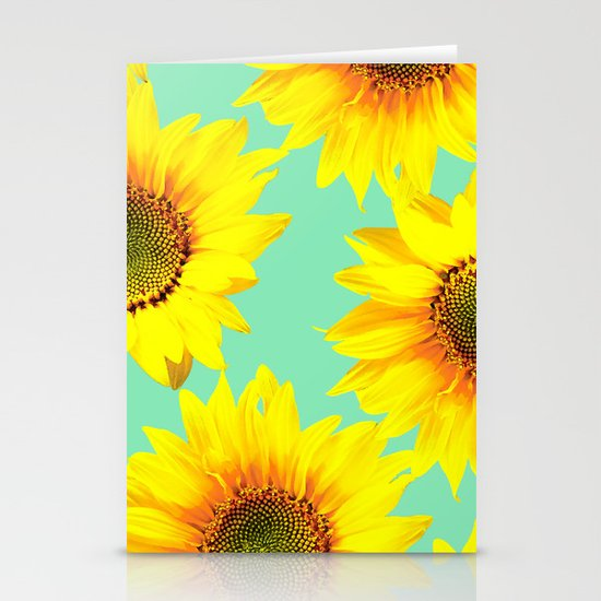 Sunflowers on a pastel green backgrond #decor #society6 #buyart by pivivikstrm