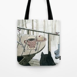 Winter Breakfast on the Porch Tote Bag