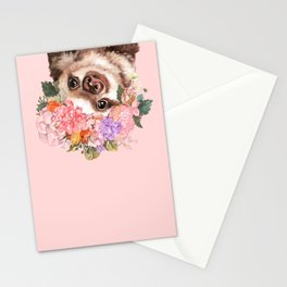 Baby Sloth with Flowers Crown in Pink Stationery Cards