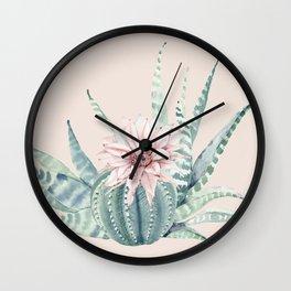 Aloe Cactus Rose Pink Wall Clock