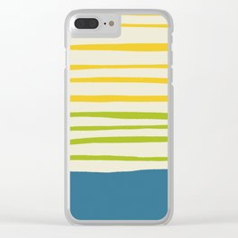 Playing with Strings - Line Art - Blue, Green, Yellow Clear iPhone Case