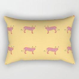 Pink Indian Tiger - Pretty Yellow Rectangular Pillow
