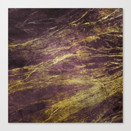 Classic Vintage Eggplant-Plum Faux Marble With Gold Veins Canvas Print