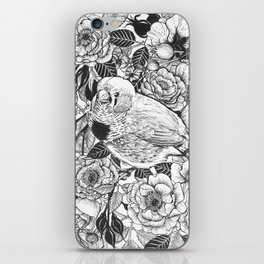Zebra finch and rose bush ink drawing iPhone Skin