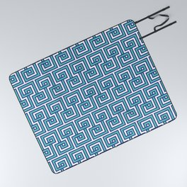 Greek Key - Turquoise Picnic Blanket