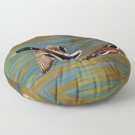 Mallard Ducks in Flight Floor Pillow