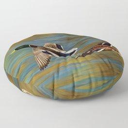 Mallard Ducks in Flight Floor Pillow