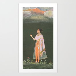 Royal Woman Holding a Flower - 17th Century Classical Indian Art Art Print