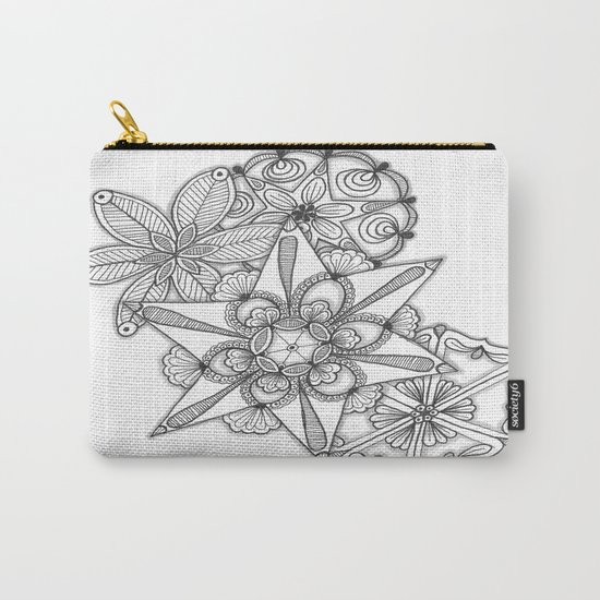 Vermont Zentangle Snow Flakes Illustration Carry-All Pouch