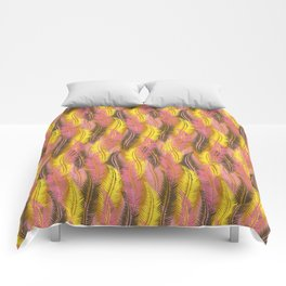 Feathers Stripe - Coral Pink and Yellow Comforters