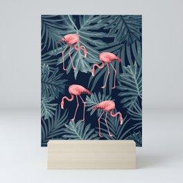 Summer Flamingo Jungle Night Vibes #1 #tropical #decor #art #society6 Mini Art Print