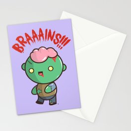 Zombie Kawaii | BRAAAINS!!!! BRAINS!! Halloween Stationery Cards
