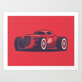 GAZ GL1 Custom Vintage Hot Rod Classic Street Racer Car - Red Art Print