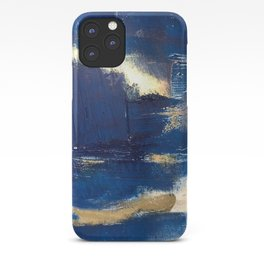 Halo [2]: a minimal, abstract mixed-media piece in blue and gold by Alyssa Hamilton Art iPhone Case
